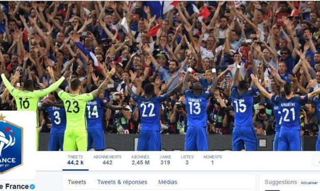 Comment la FFF communique-t-elle sur ses équipes de France de football sur Twitter?