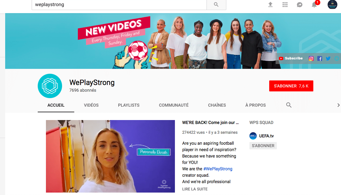 WePlayStrong, la nouvelle chaîne YouTube du football féminin !